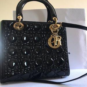 Medium Lady Dior Handbag in Black Patent